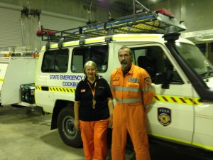 May Bowser and Paul Neville at the Cockburn SES base.